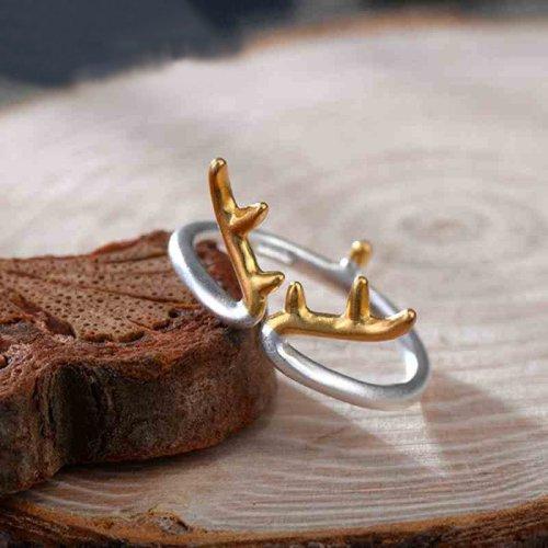 Silver Reindeer Horn Ring