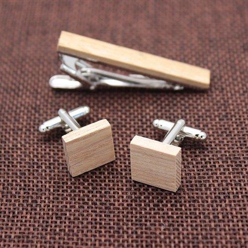 Wooden Cufflinks & Tie Clip Set