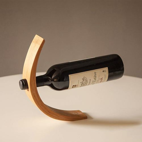 Gravity Bamboo Bottle Holder Bent Bamboo Wine Bottle Stand Home Decor Gadgets Gift for Father Him