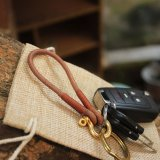 Genuine Leather Brass Shackle Keychain