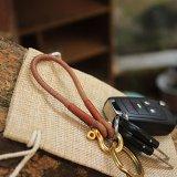 Genuine Leather Brass Shackle Keychain