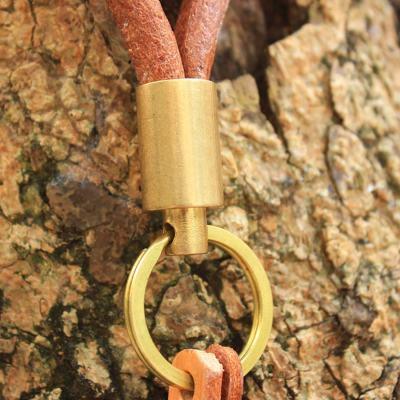 Round Leather Brass Keychain