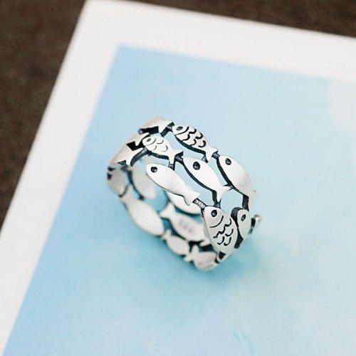 990 Silver Fish Ring Gift for Women Girls Free Shipping