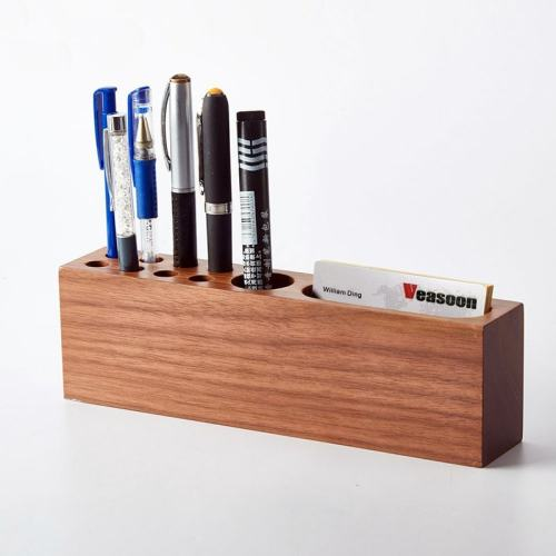 Personalized Wooden Pen Container 10 Slots Desk Organizer