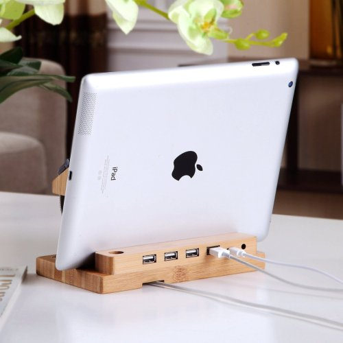 Clearance Sale Bamboo Docking Station With 4 USB Port