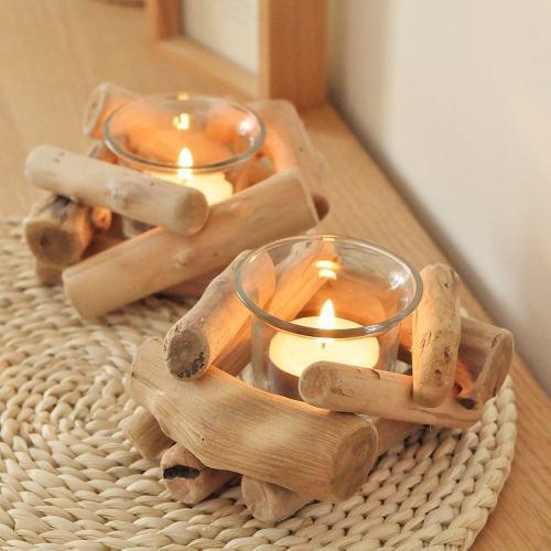 Wood Candle Holder Set