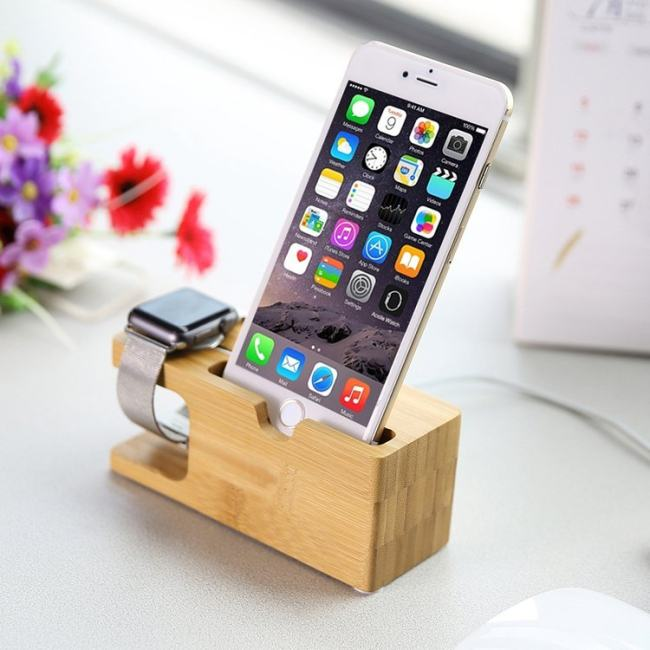 Wood and Bamboo Apple Watch Charger Holder & iPhone Holder