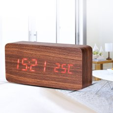 LED Teak Cuboid Alarm Clock