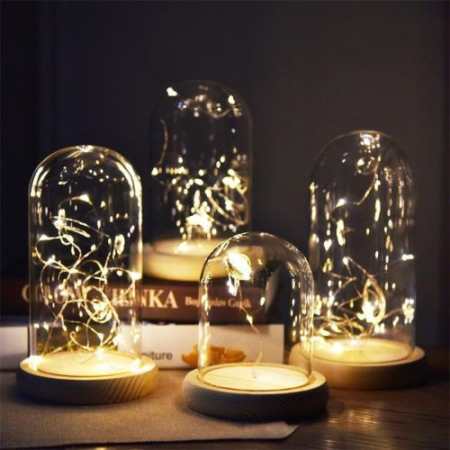 Silver Flower Glass Night Lamp