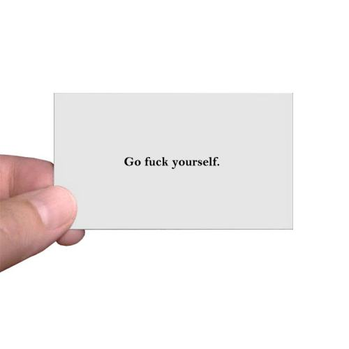 Go Fuck Yourself Calling Cards Personalized Go Fuck Yourself Greeting Cards