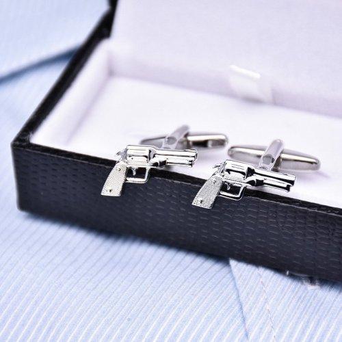 Silver Revolving Pistol Cufflinks