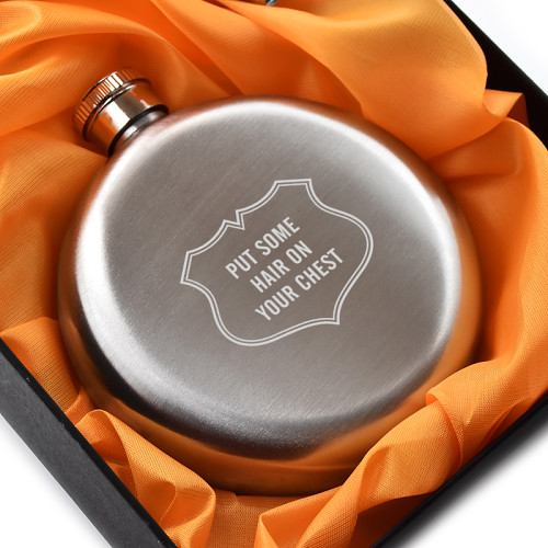 Put Some Hair On Your Chest Flask 5oz Round Hip Flask
