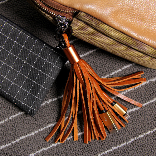 Clearance Leather Tassel Charging Cable Bag Pendent Keychain Gift for Girls