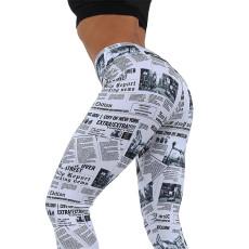 News Paper Design Workout Leggings Black White Highstreet Streetwear Leggings