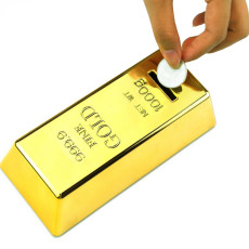 Gold Bar Piggy Bank Feng Shui Decoration Lucky Money Coin Box