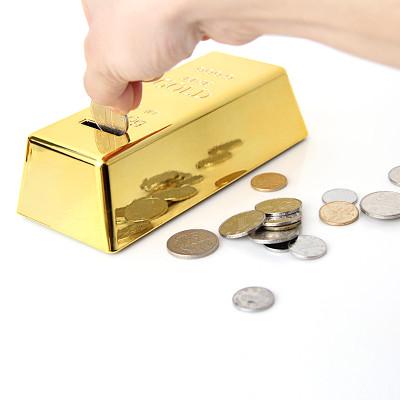 Gold Bar Piggy Bank Feng Shui Decoration Lucky Money Coin Box