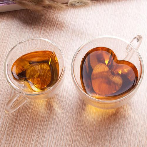 Heart Shaped Glass Cup Mug for Tea Coffee Wedding Gifts Free Shipping