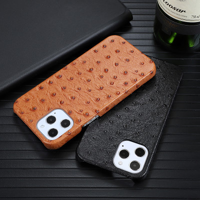 Ostrich Skin Apple iPhone 12 Case for iPhone 11 HUAWEI P40 Genuine Leather Case