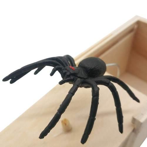 Spider Scare Box Prank Plans Trick Joke Halloween Spider Wood Box Toy