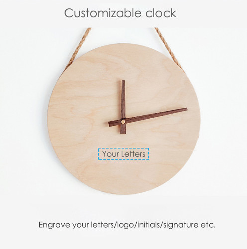 Customizable Minimalist Style Wall Clock Wood Personalized Gifts