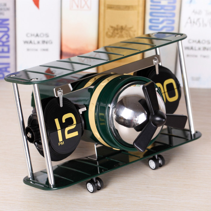 The-Wright-Brothers-Plane-Auto-Flip-Clock-Classic-Vintage-Plane-Clock-Home-Decoration-Personalized-Wedding-Gift