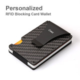 Personalized Carbon Fiber RFID Blocking Card Wallet Custom Gifts Wedding Gifts For Groom