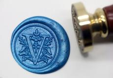 Floral Letters V Wax Seal Kit Alphabet Letter V Wax Seal Stamp