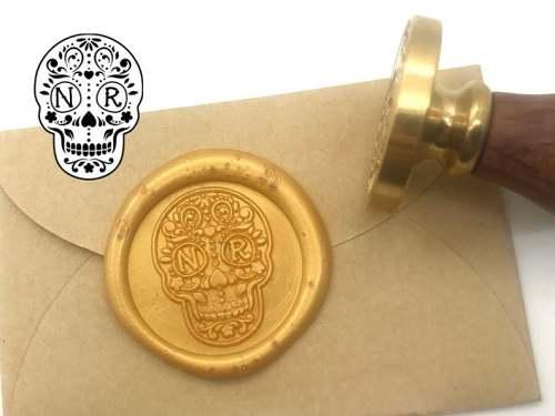 Wedding Invitation Seal Sugar Skull Wax Seal Kit Personalized Monogram Custom Letter Seals