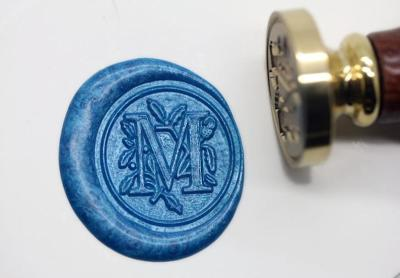 Alphabet Letter  M Wax Seal Stamp Kit,Sealing Stamp Flower Style Wax Seal