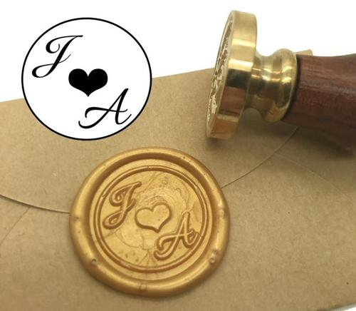 Wedding Invitation Seal,Heart Initials Wax Seal Stamp,Custom Monogram Wedding Seals