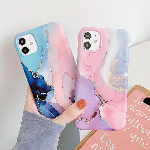 Watercolor Gold Ore Marble iPhone Case for Apple iPhone 7 - iPhone 12 Pro Max Gift for Women Free Shipping
