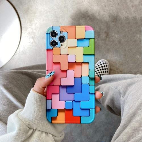 3D Colorful Blocks iPhone Case for Apple iPhone 7 8 - iPhone 12 Pro Max Free Shipping
