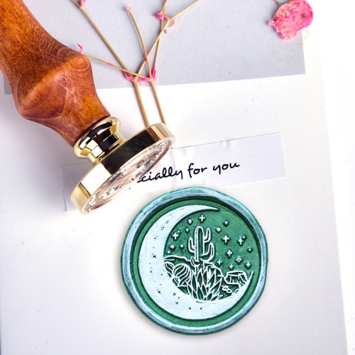 Firsthand and Secondhand Account Wax Seal Stamp Moon Cactus Succulent Sealing Stamp