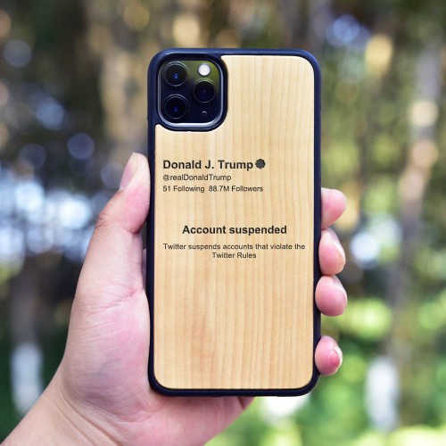 Donald Trump's Twitter Account Suspended Wood iPhone Case Personalized iPhone Case Carved Wooden Samsung Case Worldwide Free Shipping