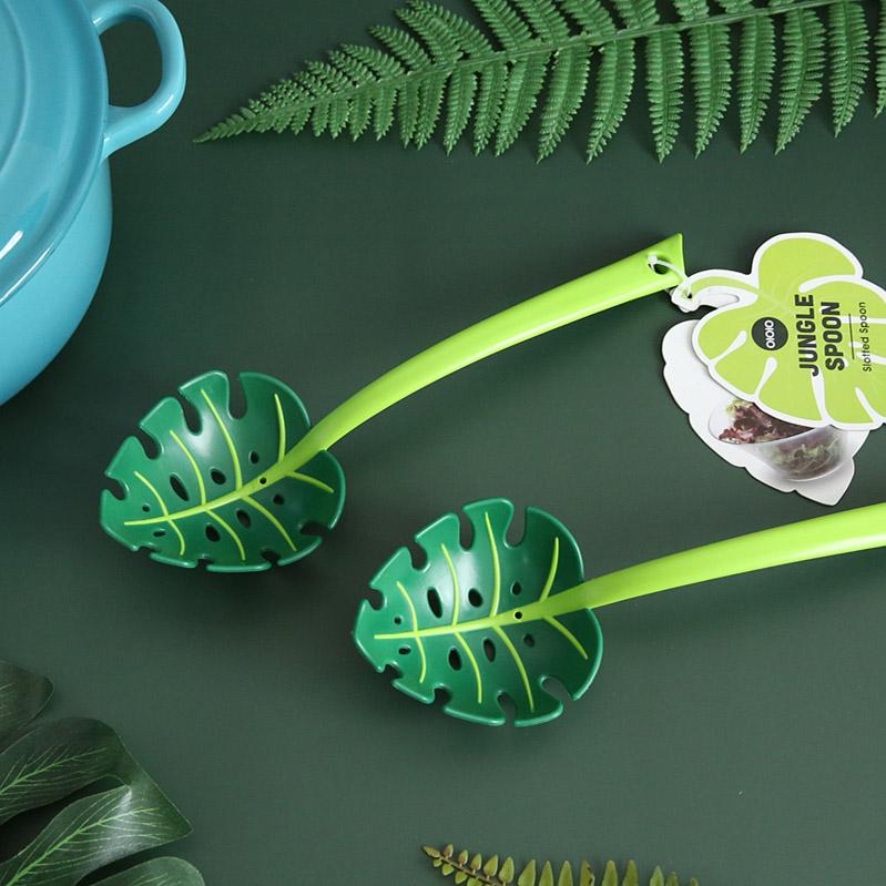 Jungle Spoon Monstera Leaf Spoon Food Colander Strainer Pasta Spoon Spaghetti Spoon
