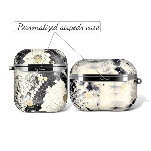 Python Skin AirPods 1 2 Pro Cases Snake Skin Personalized Genuine Leather AirPods Case Cover Gifts for Women Free Shipping