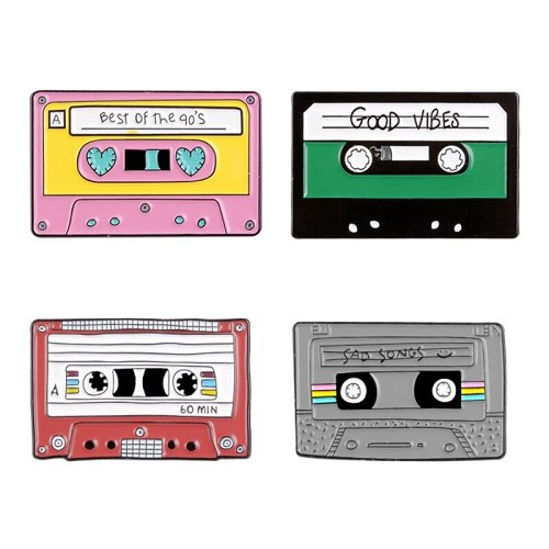 Cassette Tape Badge Pins Gifts for 1980s 1990s Buy 4pcs Free Shipping Good Vibes