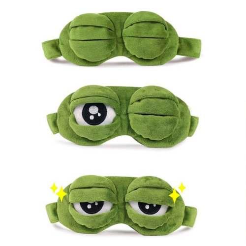 3D Plush Frog Eye Mask Sad Frog Travel Sleeping Eye Mask Green Gifts for Women
