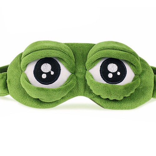 3D Plush Frog Eye Mask Sad Frog Travel Sleeping Eye Mask Green Gifts for Women
