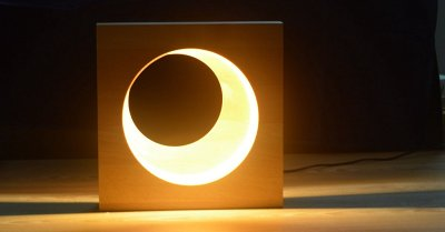Beech Wood LED Moon Lamp Full Moon Hyun Moon Night Light Bedroom LED Light Wooden Home Decor