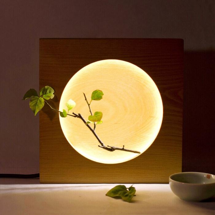 Beech Wood LED Moon Lamp Full Moon Hyun Moon Night Light Bedroom LED Light Wooden Home Decor