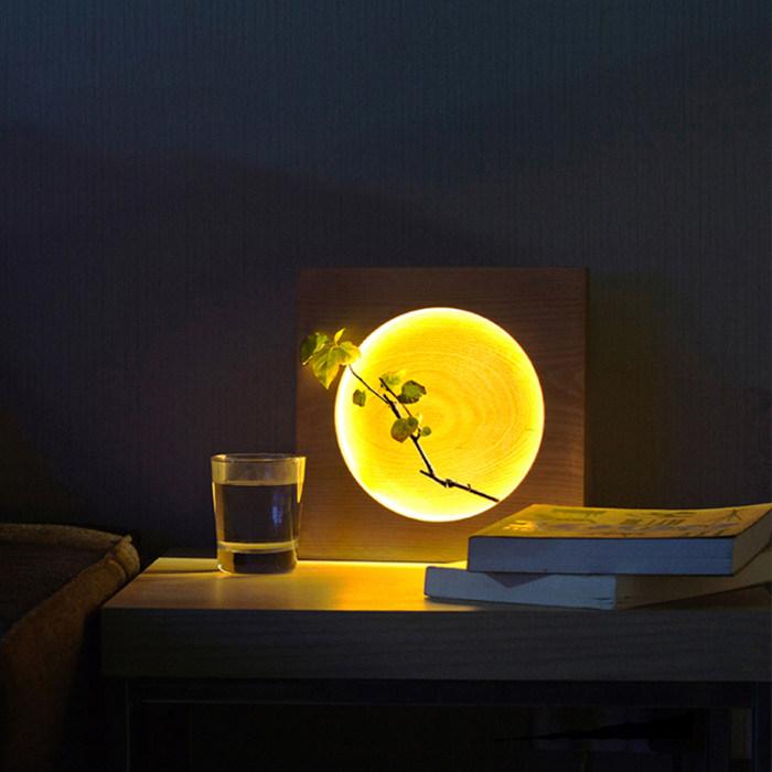 Beech Wood LED Moon Lamp Full Moon Hyun Moon Night Light