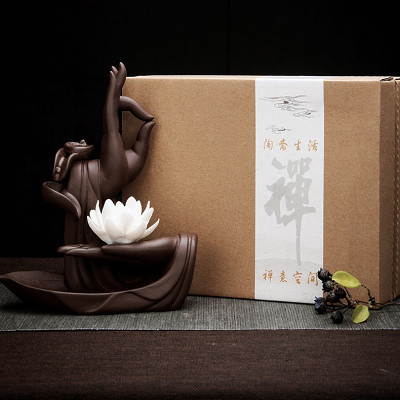 Zen Incense Burner White Lotus Backflow Incense Burner Gifts for Home for Grandfather Grandmother : Veasoon