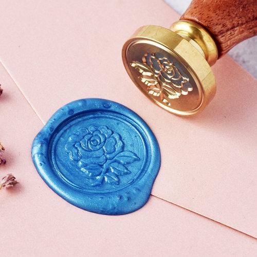 Blue Rose Wax Seal Stamp Rose Sealing Wax Stamp Kit Personalized Brass Stamp