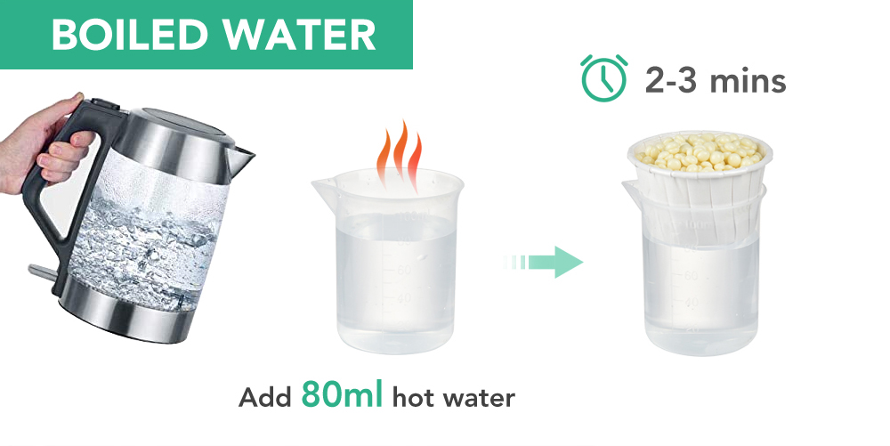 Melt the nose wax by boiled water