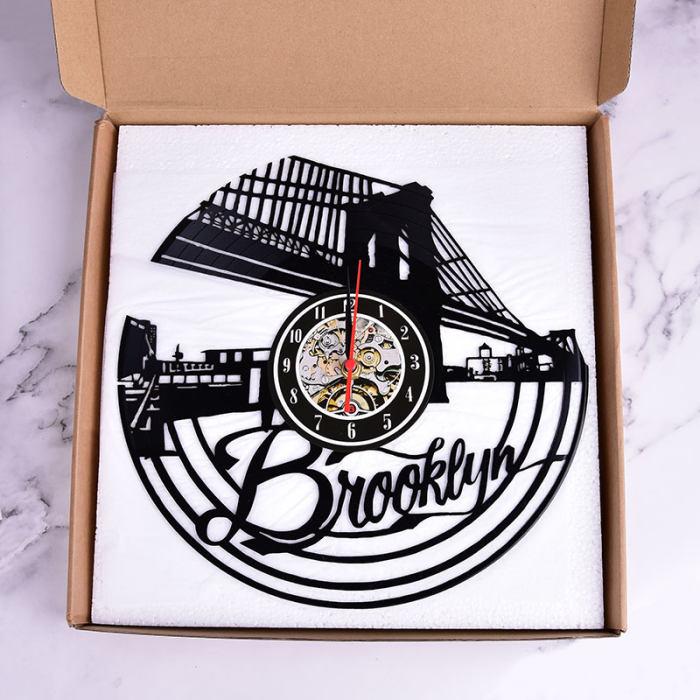 Vinyl Record Wall Clock Brooklyn Skyline 3D Brooklyn Bridge Clock