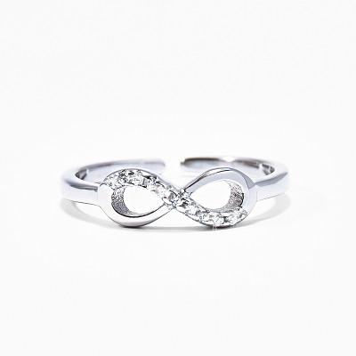 Rhinestone 925 Silver Infinity Ring Personalized Jewelry