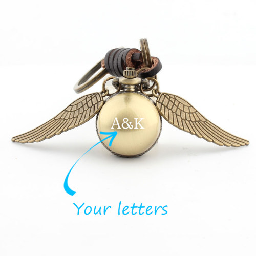 Ball With Wings Pocket Watch Keychain Classic Brass Watch Personalized Gifts for Men
