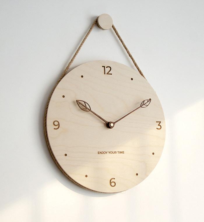 Customizable Minimalist Style Wall Clock Wood Personalized Gifts