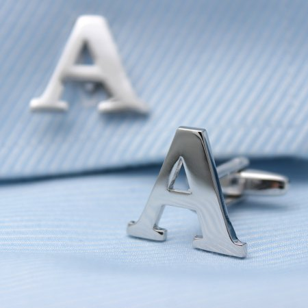 Silver Alphabets Cufflinks Letters Cufflinks Name Cufflinks Gift for Men